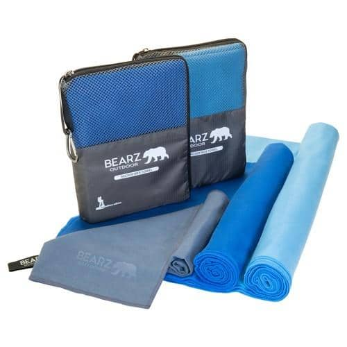 BEARZ Outdoor Microfiber Towels Blue Large Set