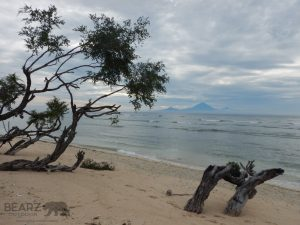 Gunung Agung volcano on Bali in the background