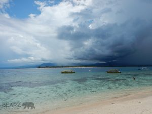 Storm over Lombok island in the distance
